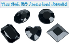 Set of 50 1/2 inch Black Plastic Jewels with Adhesive