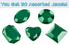 Set of 50 1/2 inch Green Plastic Jewels with Adhesive