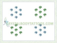 Swarovski Aqua/Green 4 Small Flowers Crystal Tattoo