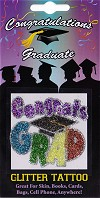 Congrats Grad with Graduation Hat Glitter Tattoo