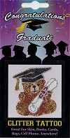 Teddy Bear with Graduation Hat & Diploma Glitter Tattoo