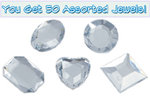 Set of 50 1/2 inch Clear Plastic Jewels with Adhesive