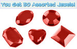 Set of 50 1/2 inch Red Plastic Jewels with Adhesive