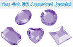 Set of 50 1/2 inch Purple Plastic Jewels with Adhesive