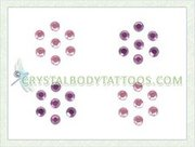 Swarovski Light Rose/Fuchsia 4 Small Flowers Crystal Tattoo