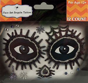 Rhinestone & Glitter Day of the Dead Silver & Black Sugar Skull Face Art Kit