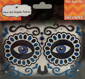 Rhinestone & Glitter Day of the Dead Blue & Black Sugar Skull Face Art Kit