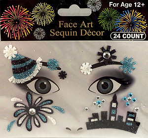 Rhinestone & Glitter Blue, White & Black 'City & Fireworks' Face Art Kit