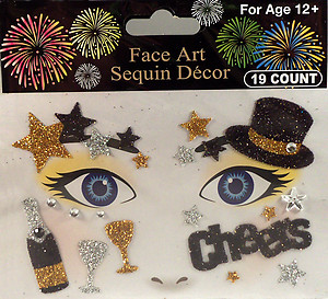 Rhinestone & Glitter Gold, Silver & Black 'Champagne & Cheers' Face Art Kit