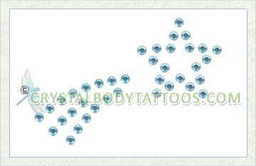 Swarovski Aqua Shooting Star Crystal Body Tattoo