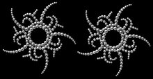 Pair of 'Lust' Self Adhesive Stick-on Rhinestone Pasties/Belly Jewels
