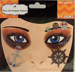 Rhinestone & Gliter Pirate with Anchor & Ship Wheel Face Art Kit