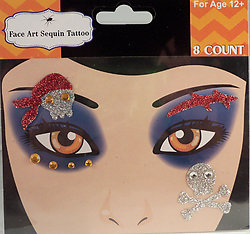 Rhinestone & Glitter Pirate with Skulls Face Art Kit