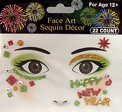 Rhinestone & Glitter Pink, Green & Gold 'Happy New Year' Face Art Kit