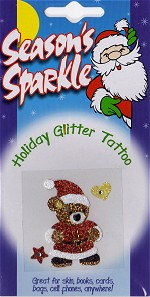 Santa Teddy Bear Holiday Glitter and Crystal Tattoo