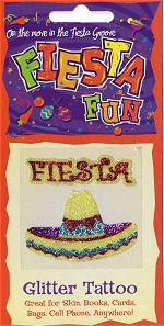 Fiesta and Sombrero Glitter Tattoo