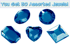 Set of 50 1/2 inch Blue Plastic Jewels with Adhesive