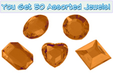 Set of 50 1/2 inch Orange Plastic Jewels with Adhesive
