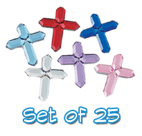 Set of 25 5/8 inch Small Assorted Plastic Cross Jewels with Adhesive