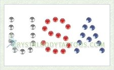 Swarovski Red, White & Blue USA Crystal Body Tattoo