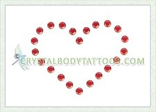 Swarovski Red Heart Crystal Body Tattoo