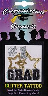 #1 Grad with Stars Glitter Tattoo